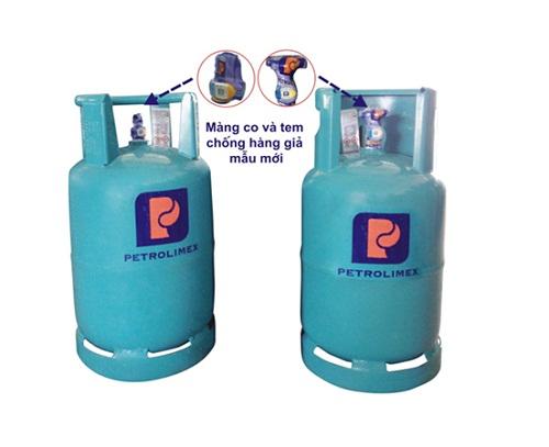 Bình gas cả vỏ và ruột của gas Petrolimex sử dụng tem chống hàng giả