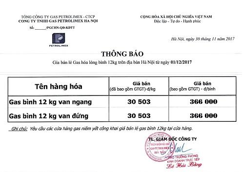 giá gas Petrolimex